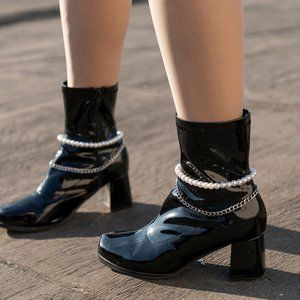 Pearls Chain Boots Wear Feet Anklet